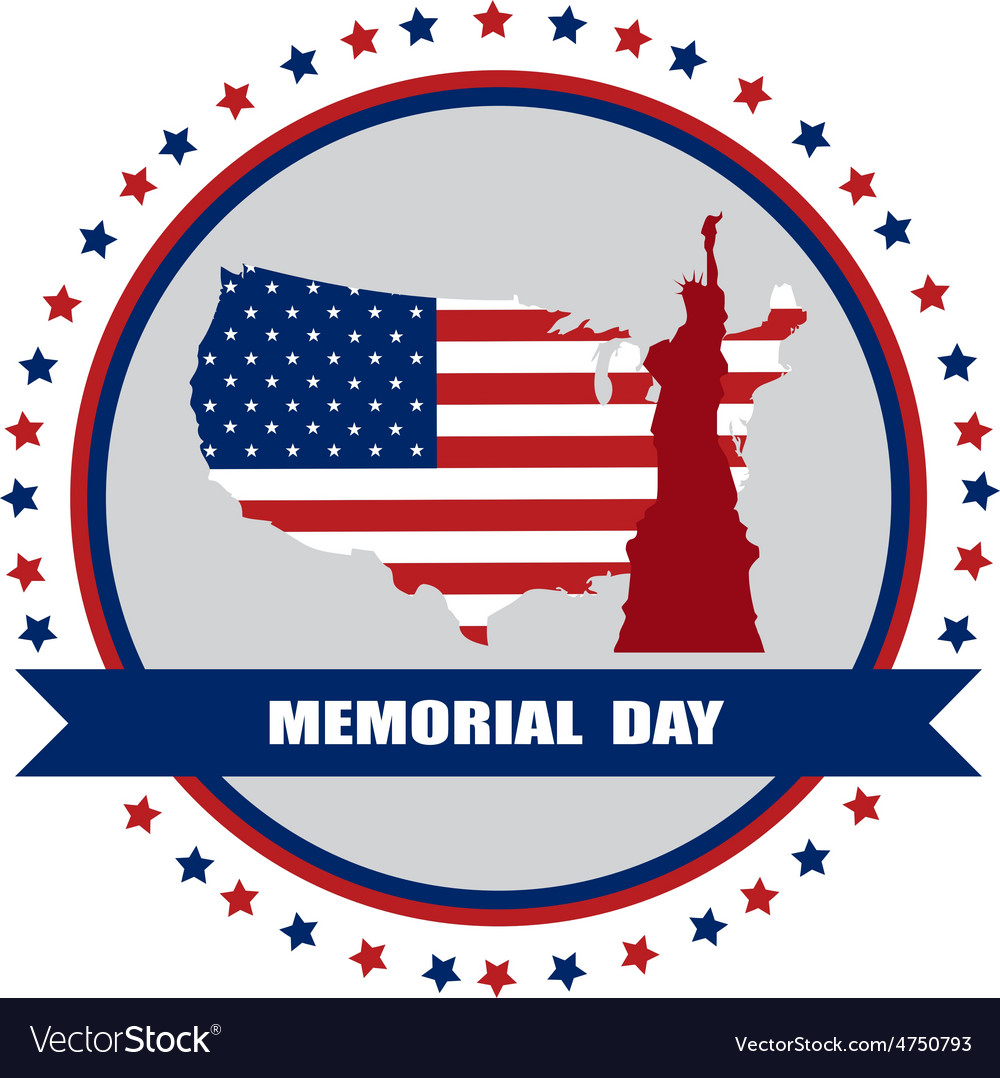 Memorial day of america usa map with statue of vector | Price: 1 Credit (USD $1)