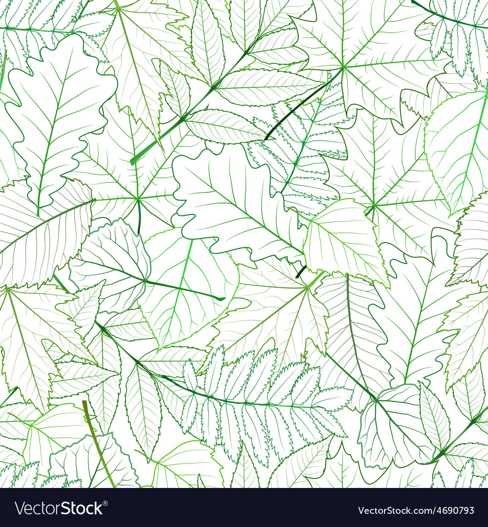 Seamless with green spring leaves vector | Price: 1 Credit (USD $1)