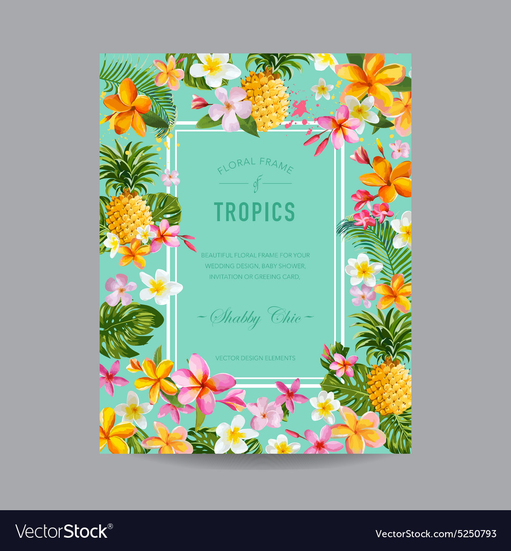 Tropical floral frame  for invitation wedding vector
