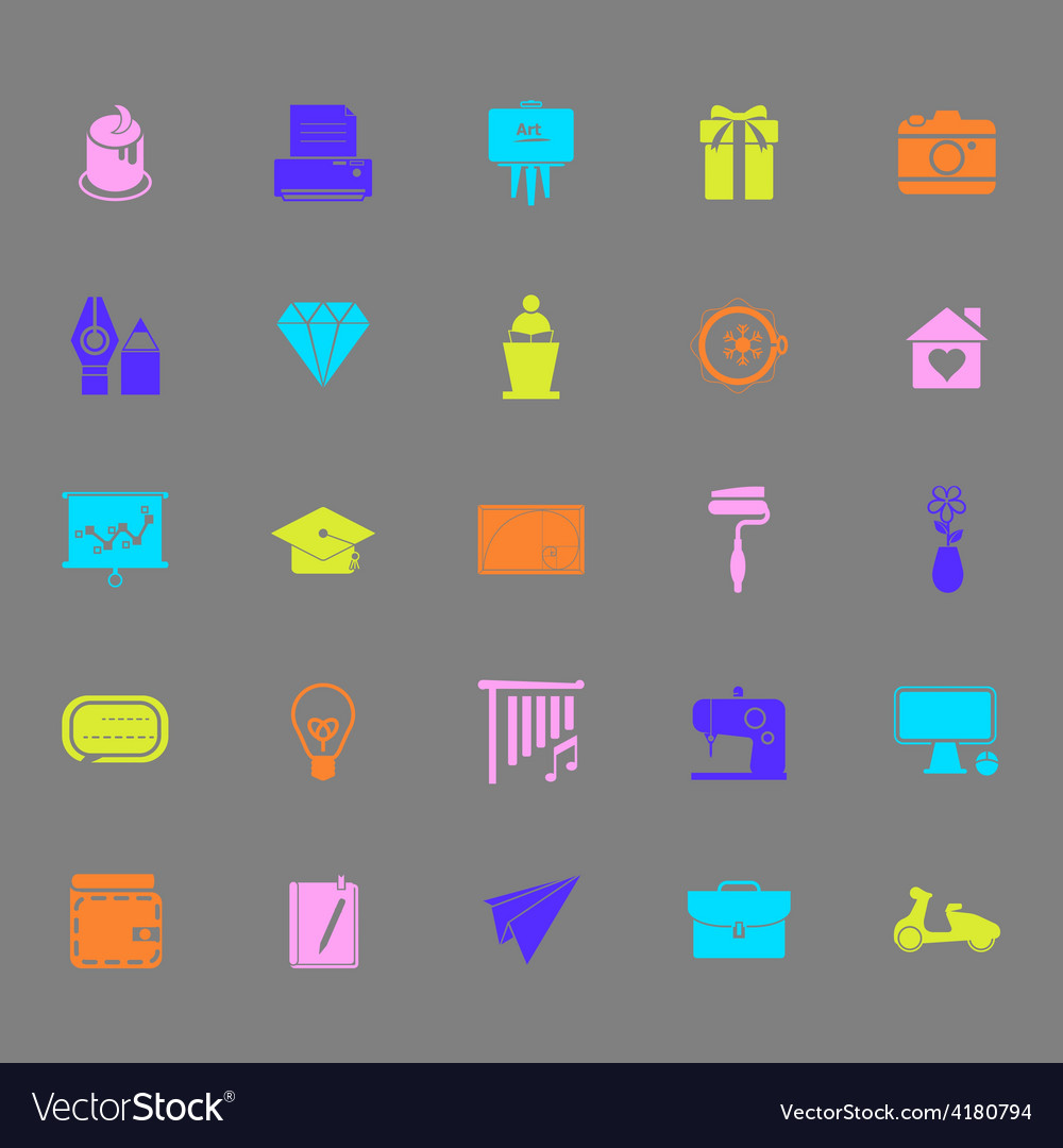 Art and creation color icons on gray background vector | Price: 1 Credit (USD $1)