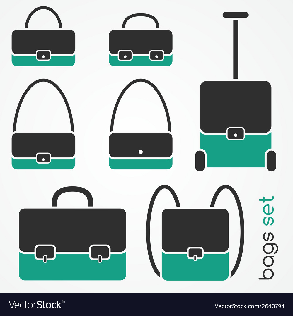 Bag icons set vector | Price: 1 Credit (USD $1)