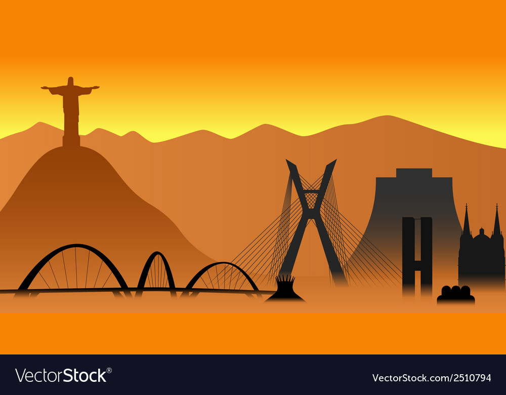 Brazil skyline vector | Price: 1 Credit (USD $1)
