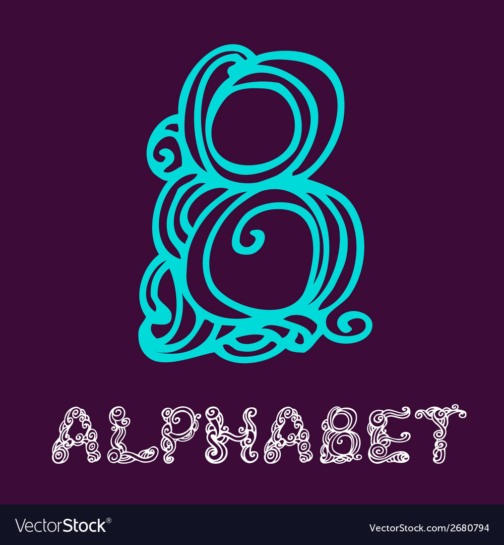 Doodle hand drawn sketch alphabet letter b vector | Price: 1 Credit (USD $1)