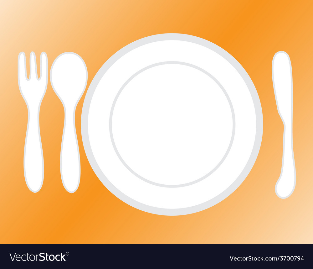 Empty plate with spoon and knife fork vector | Price: 1 Credit (USD $1)
