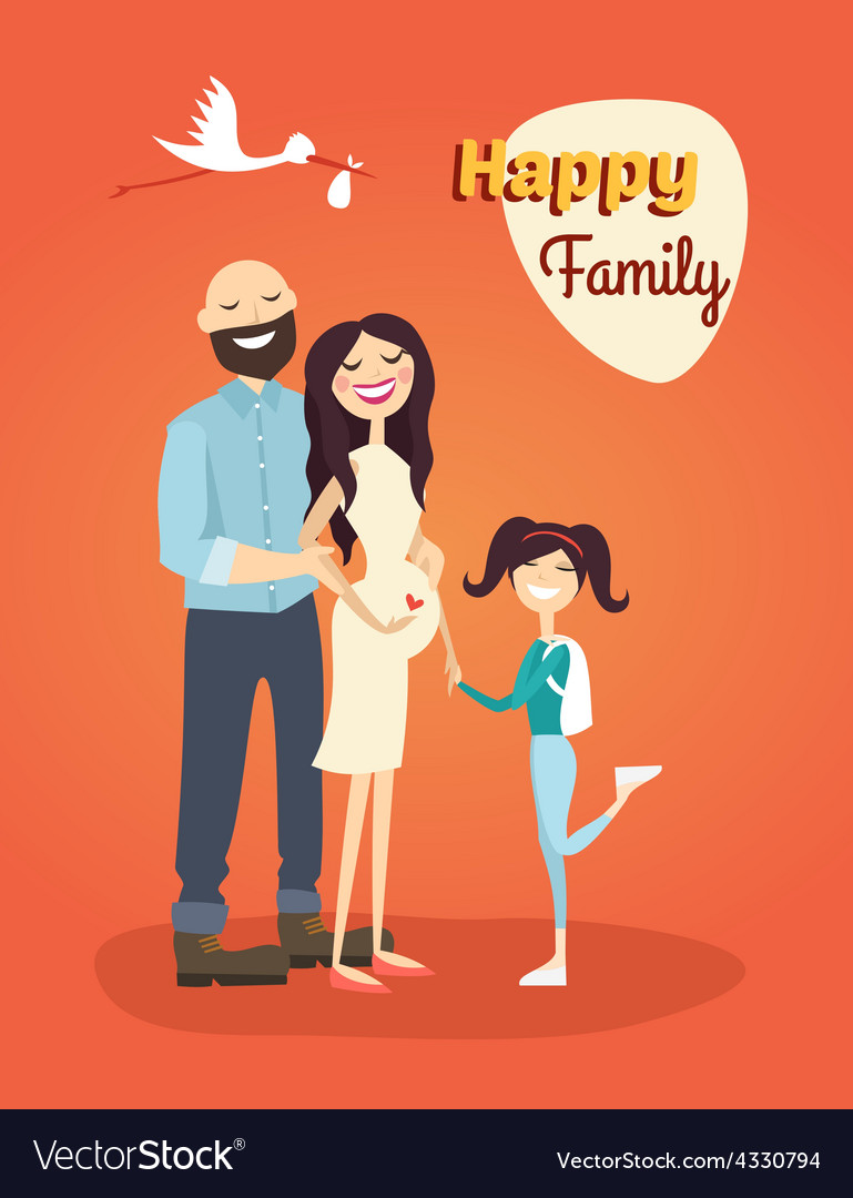 Happy family father pregnant mom and daughter vector | Price: 1 Credit (USD $1)