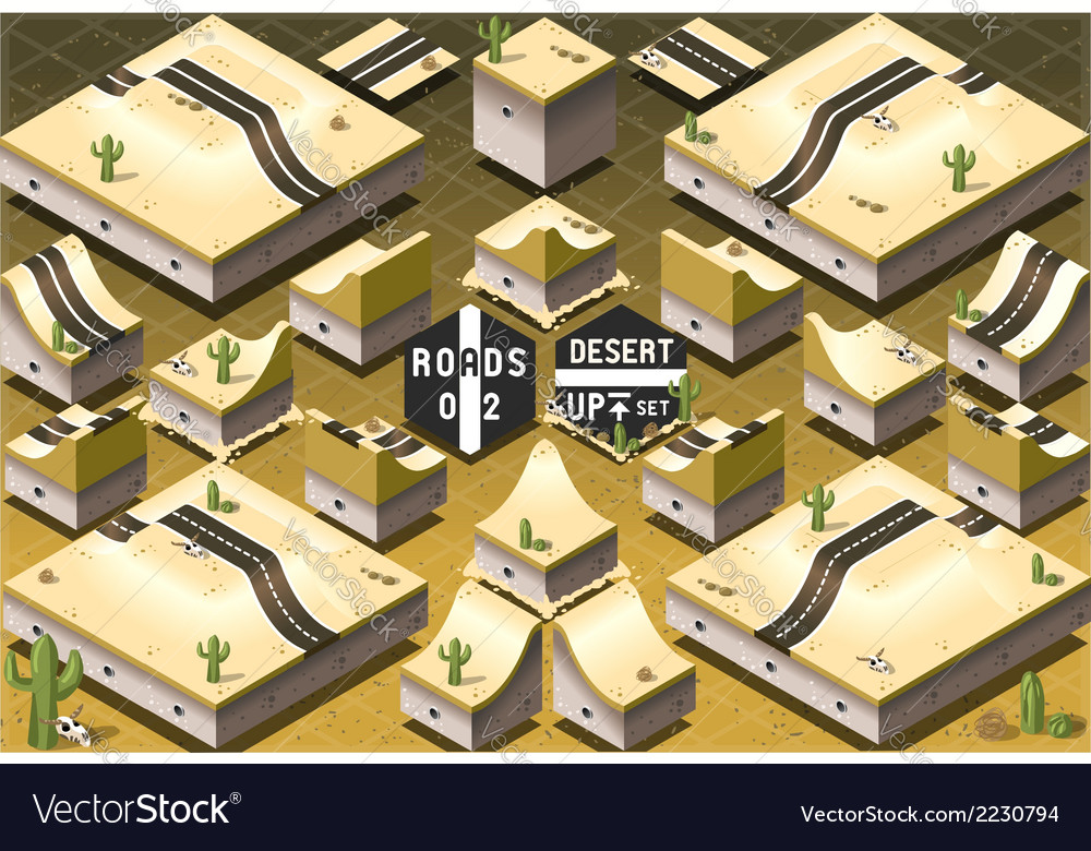 Isometric roads on two levels desert terrain vector | Price: 1 Credit (USD $1)
