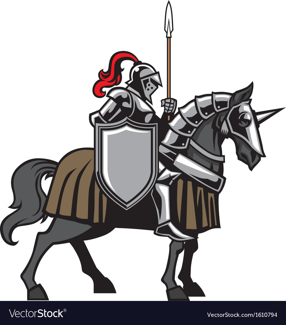 Knight with armored horse vector | Price: 3 Credit (USD $3)