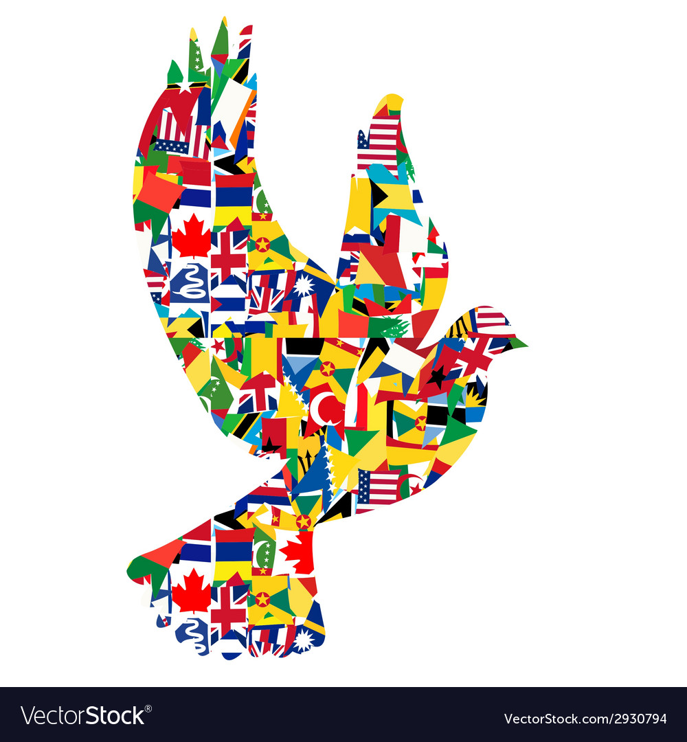 Peace concept with dove made of world flags vector | Price: 1 Credit (USD $1)