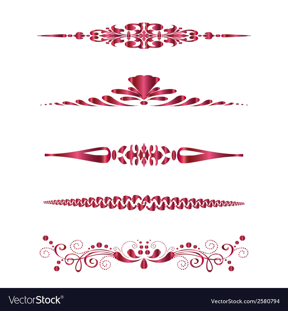 Set of design horizontal elements for border vector | Price: 1 Credit (USD $1)