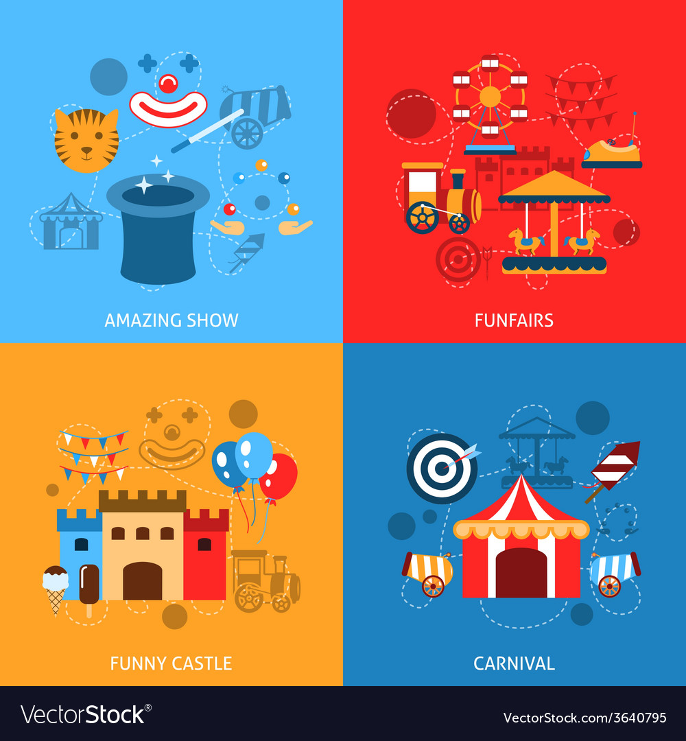 Amusements park flat set vector | Price: 1 Credit (USD $1)