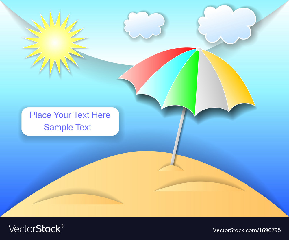 Beach with an umbrella vector | Price: 1 Credit (USD $1)