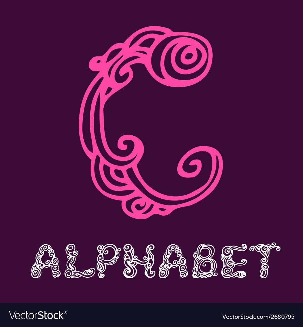 Doodle hand drawn sketch alphabet letter c vector | Price: 1 Credit (USD $1)