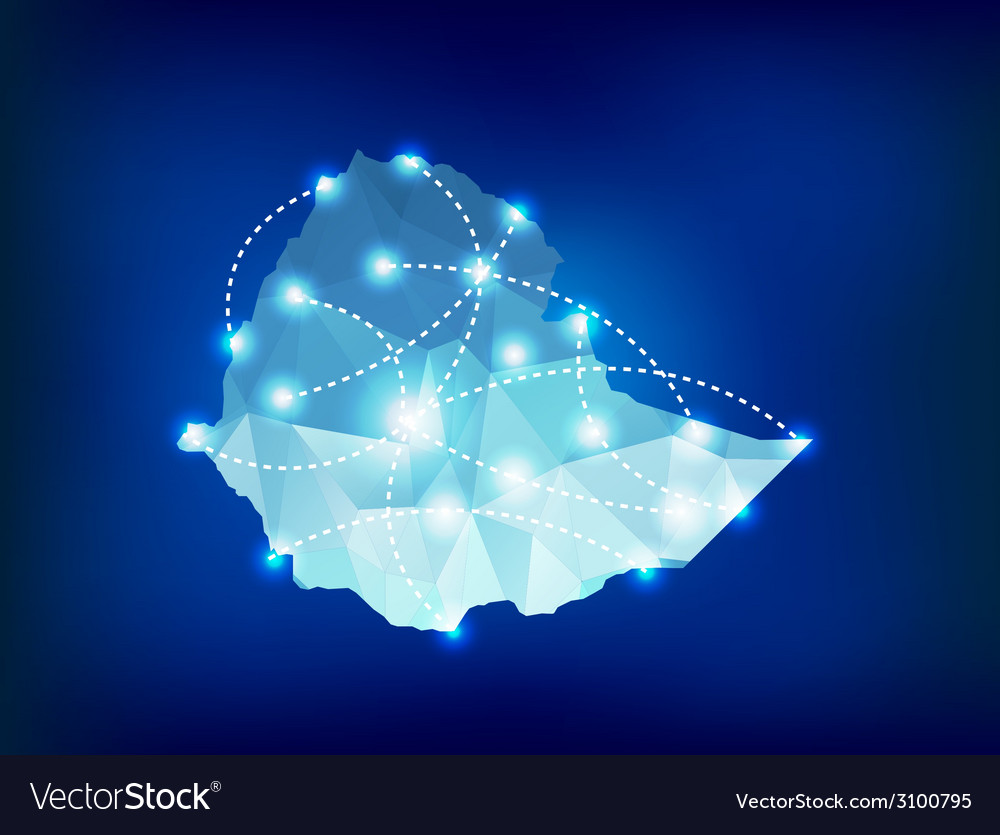 Ethiopia country map polygonal with spot lights vector | Price: 1 Credit (USD $1)
