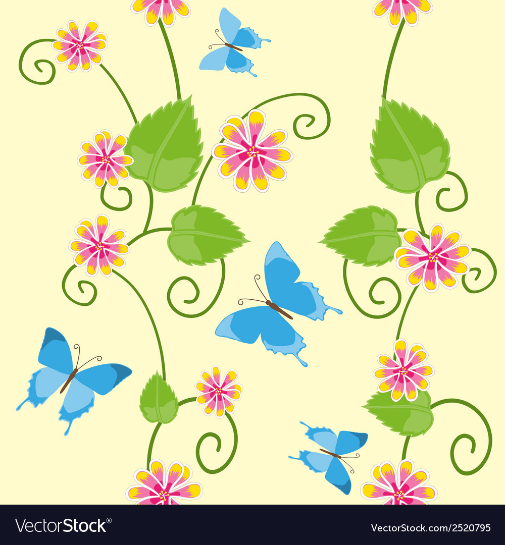 Floral seamless pattern with butterflies vector | Price: 1 Credit (USD $1)