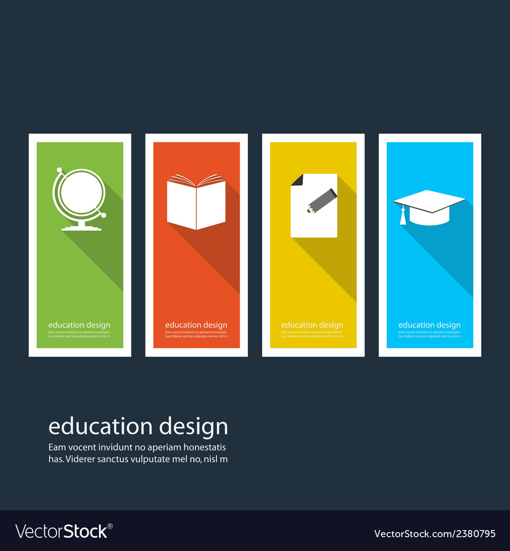 Four colored icons depicting items for education vector | Price: 1 Credit (USD $1)