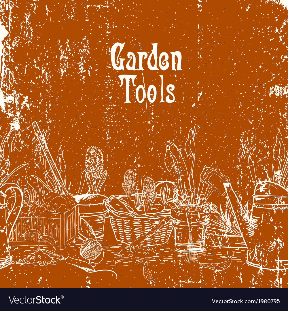 Hand drawn vintage poster with gardening tools vector | Price: 1 Credit (USD $1)