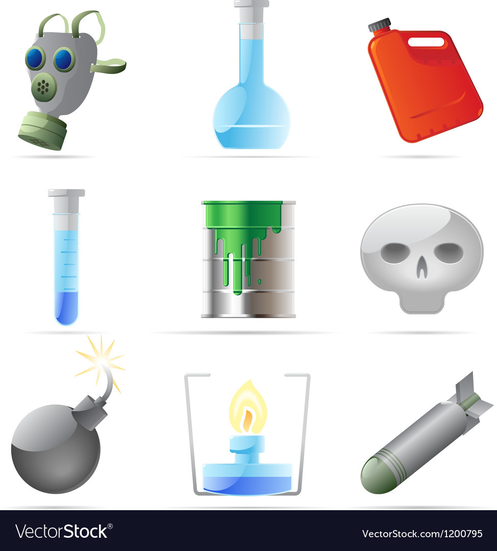 Icons for dangerous chemistry vector | Price: 1 Credit (USD $1)