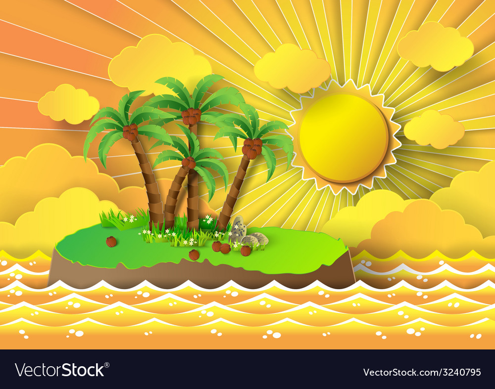 Palm on island vector | Price: 3 Credit (USD $3)