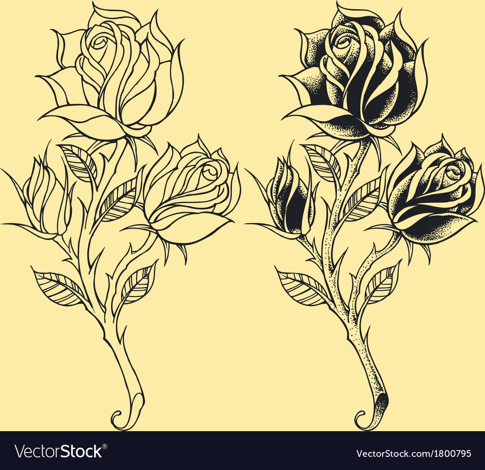 Roses oldskool tattoo style element vector | Price: 1 Credit (USD $1)