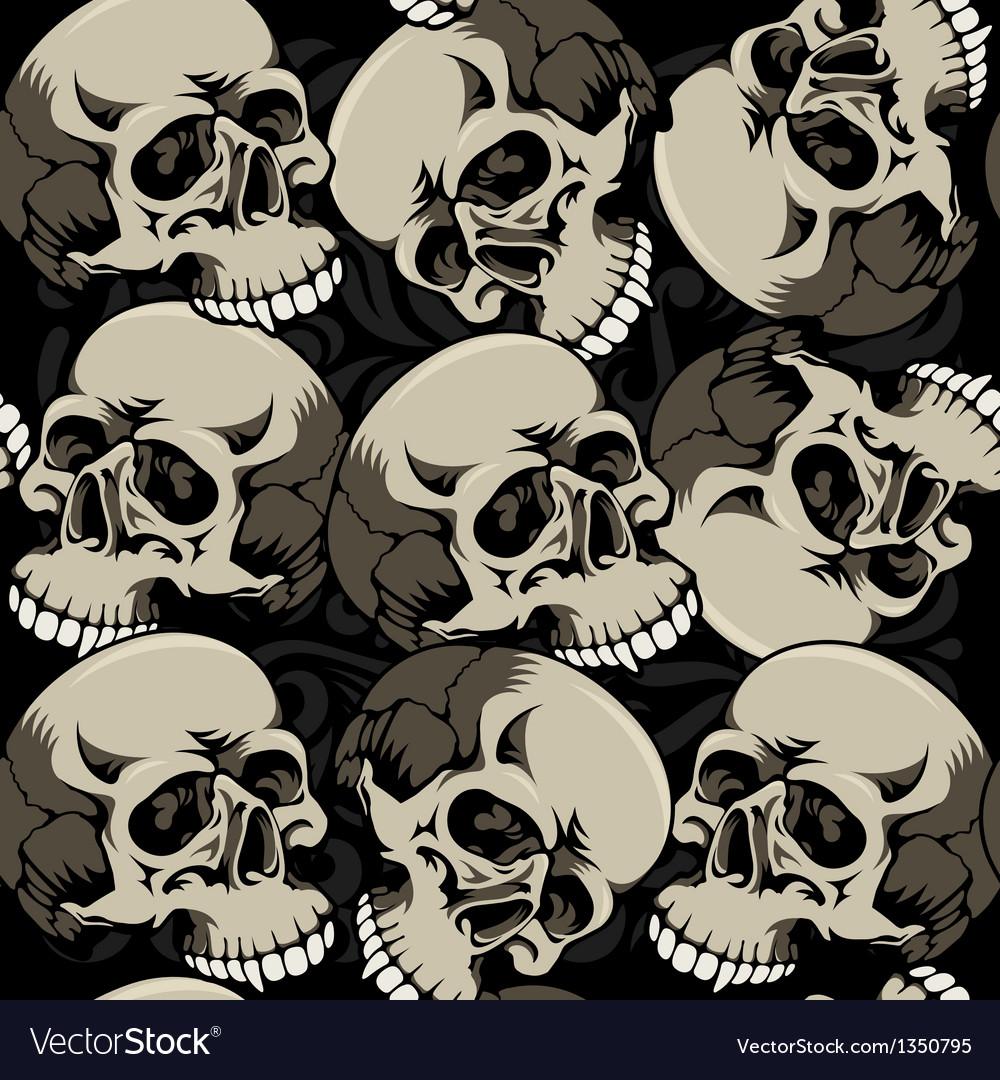 Seamless background with skulls vector   Price: 1 Credit (USD $1)