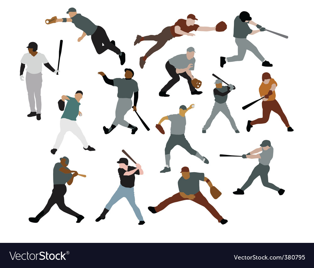 Set of baseball players vector | Price: 1 Credit (USD $1)