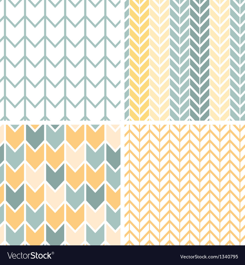 Set of four gray yellow chevron patterns and vector | Price: 1 Credit (USD $1)