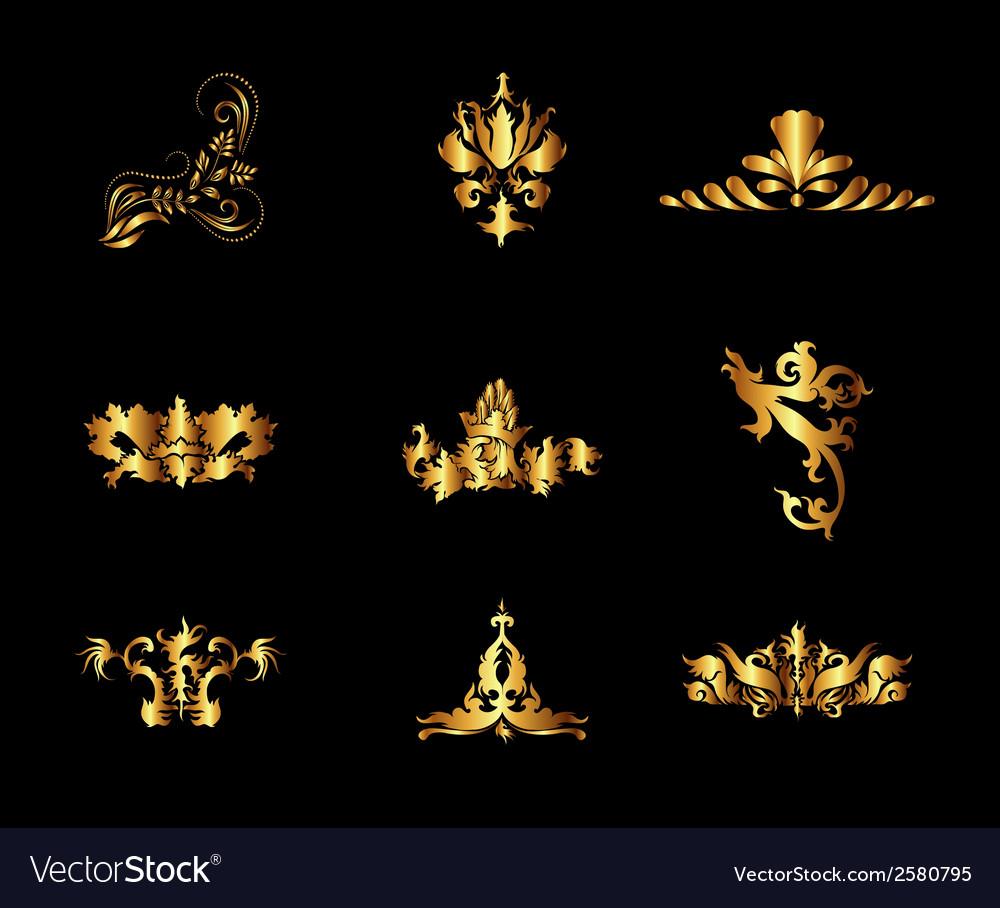 Set of golden vintage elements for design vector | Price: 1 Credit (USD $1)