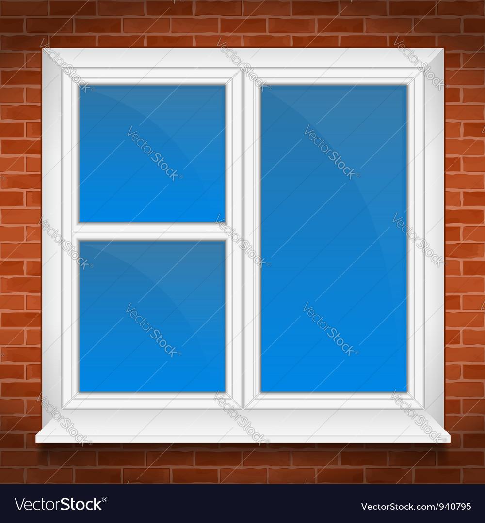 Window in brick wall vector | Price: 1 Credit (USD $1)