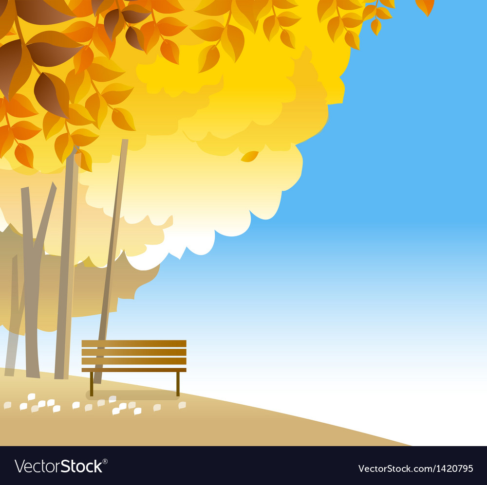 Wooden bench on hilltop vector | Price: 1 Credit (USD $1)