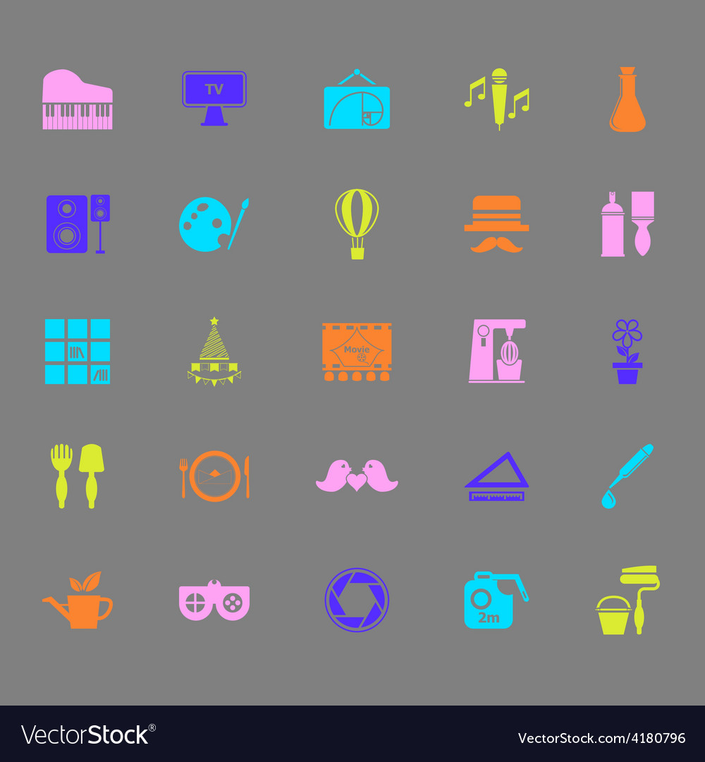 Art activity color icons on gray background vector | Price: 1 Credit (USD $1)