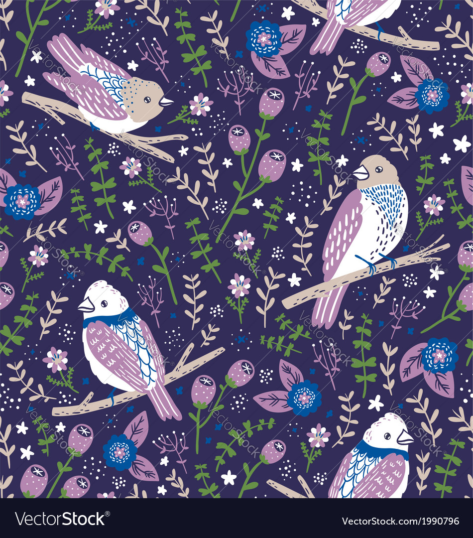 Beautiful birds and flower berries pattern in blue vector | Price: 1 Credit (USD $1)