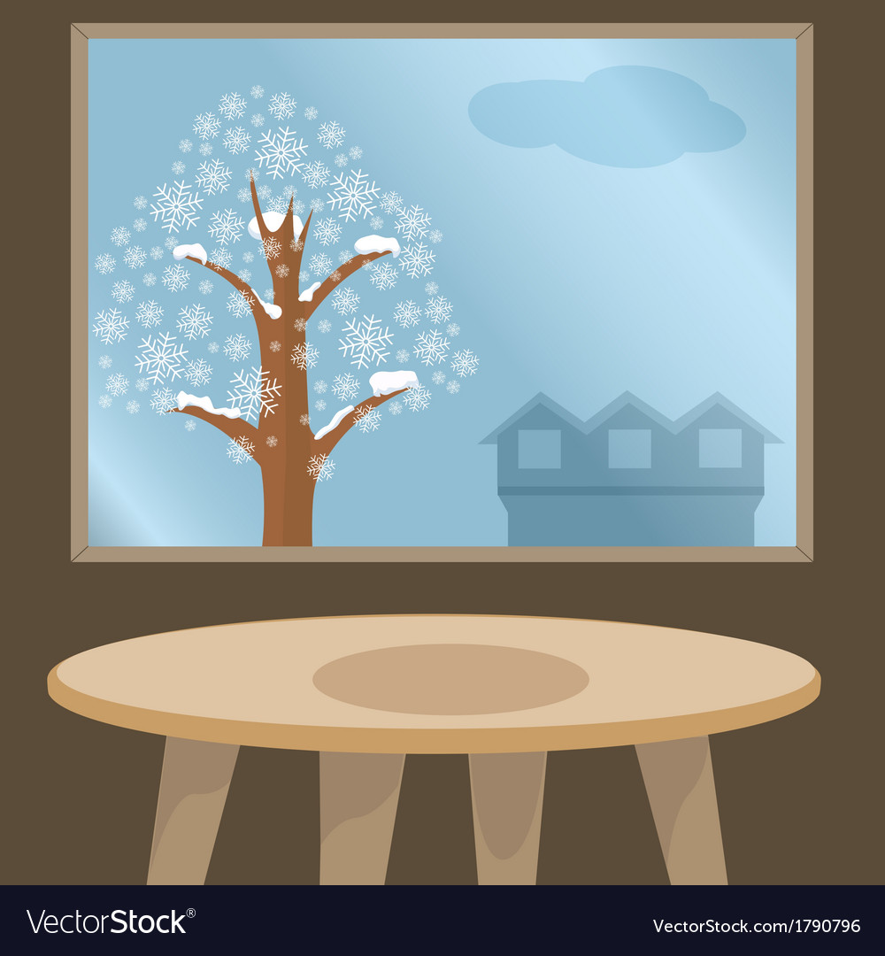 Christmas candle under winter window vector | Price: 1 Credit (USD $1)