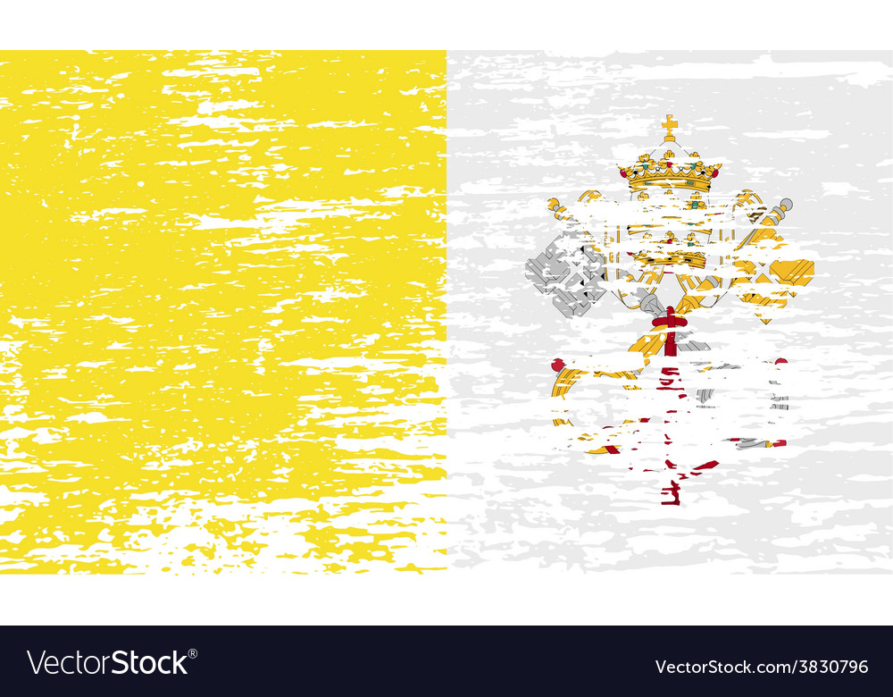 Flag of vatican with old texture vector | Price: 1 Credit (USD $1)