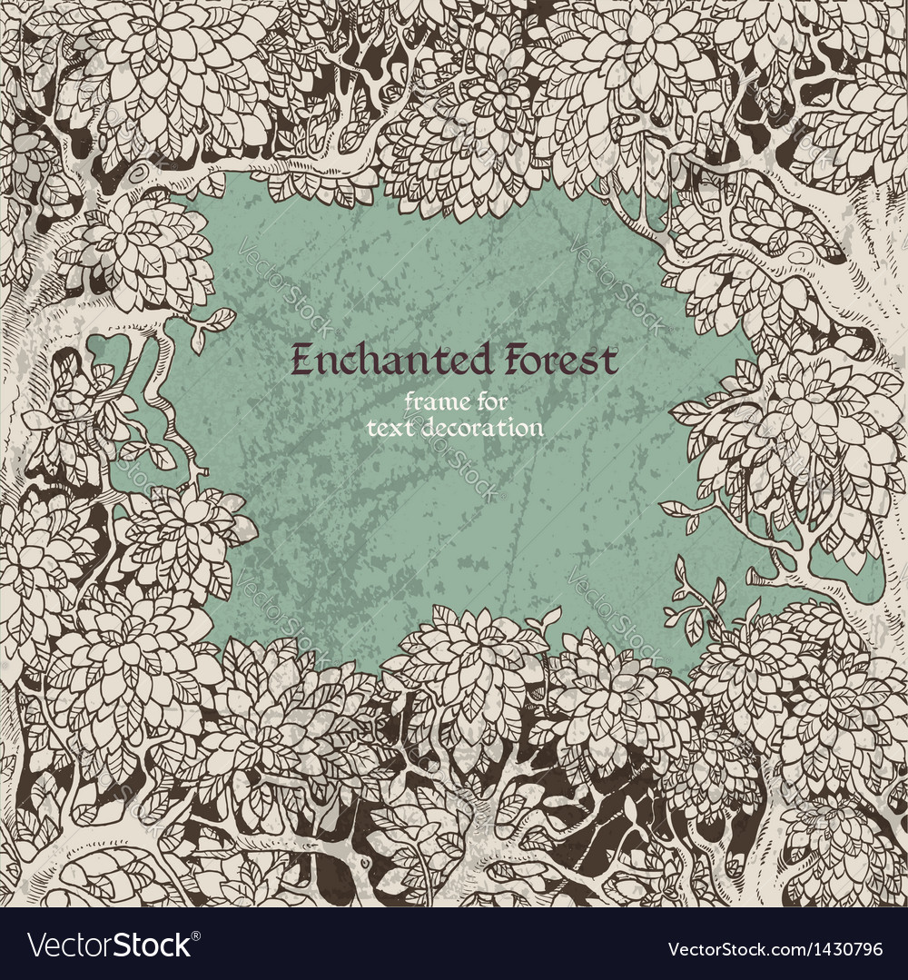 Frame for text decoration dark enchanted forest vector | Price: 1 Credit (USD $1)
