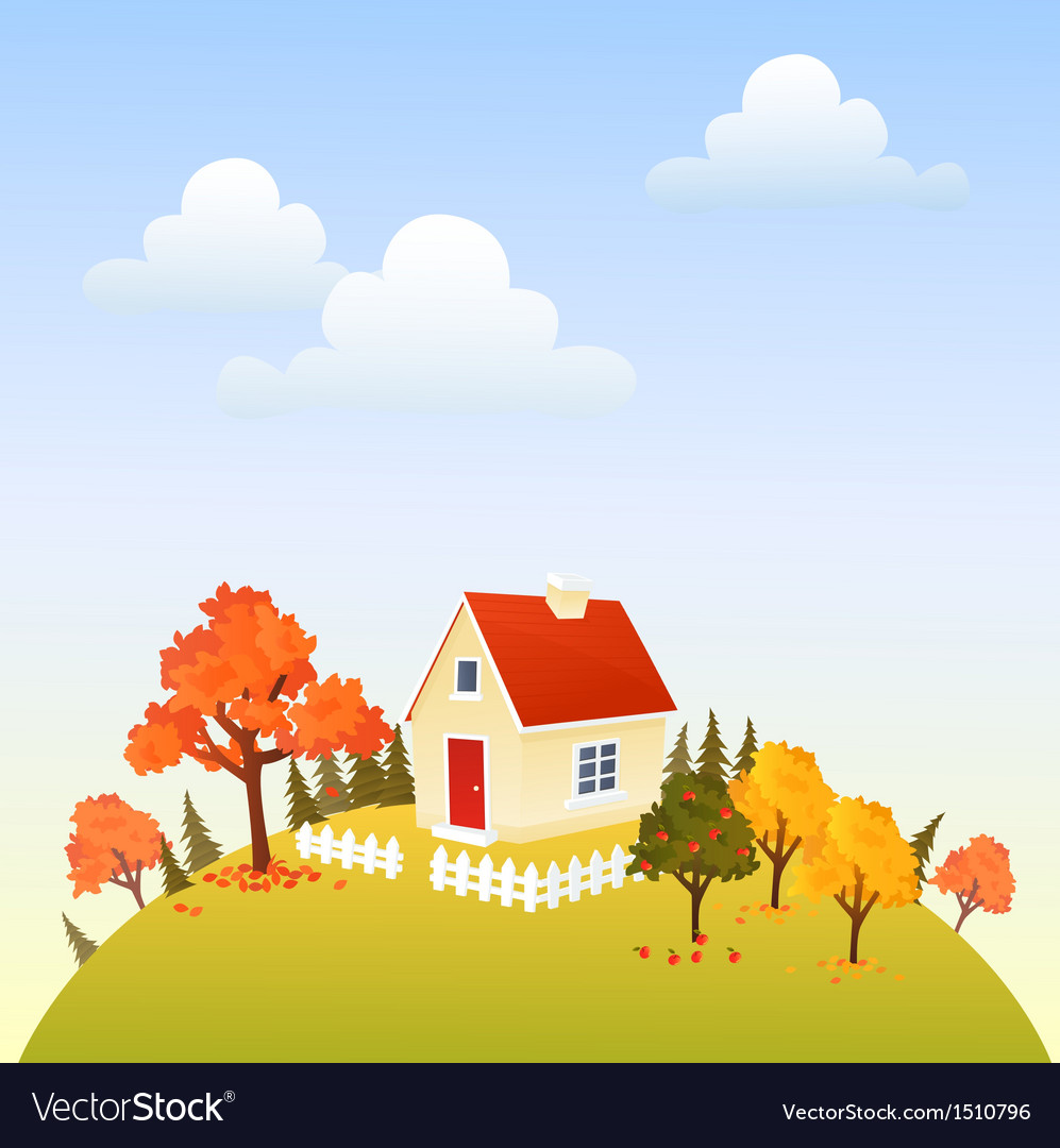 House in fall vector | Price: 3 Credit (USD $3)