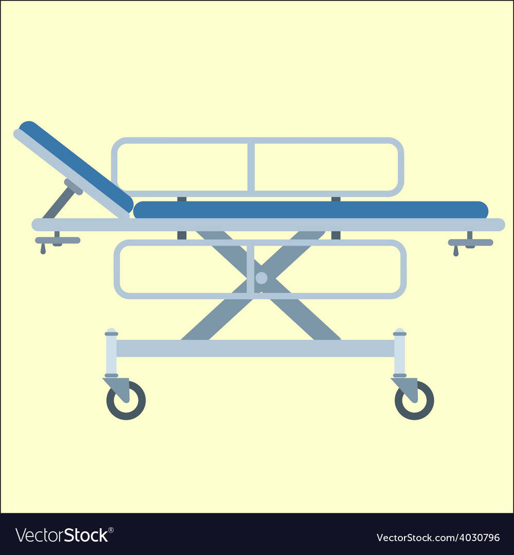 Medical stretcher bed on wheels vector | Price: 1 Credit (USD $1)
