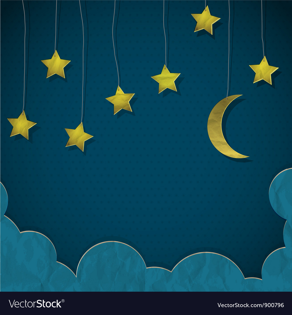 Moon and stars made from paper vector | Price: 1 Credit (USD $1)