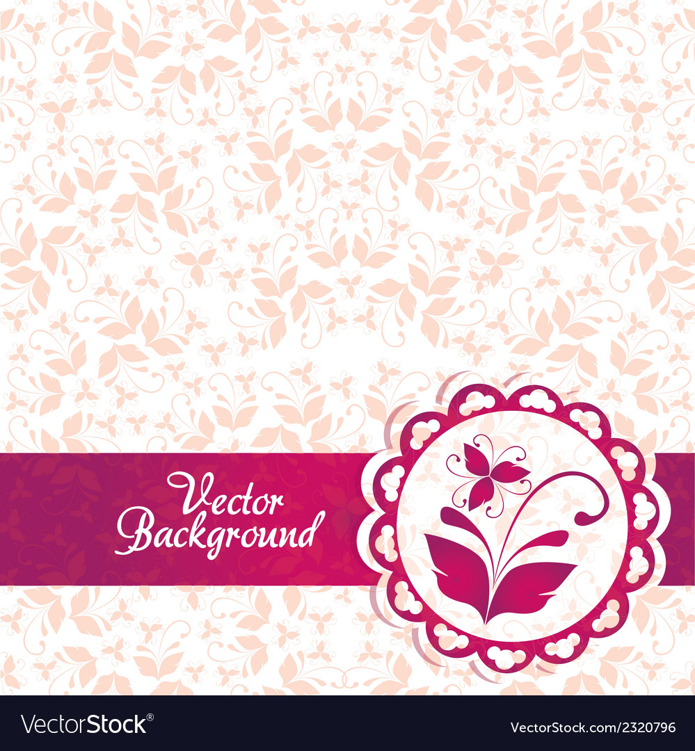 Pink and purple vintage elegant ornament backgroun vector | Price: 1 Credit (USD $1)