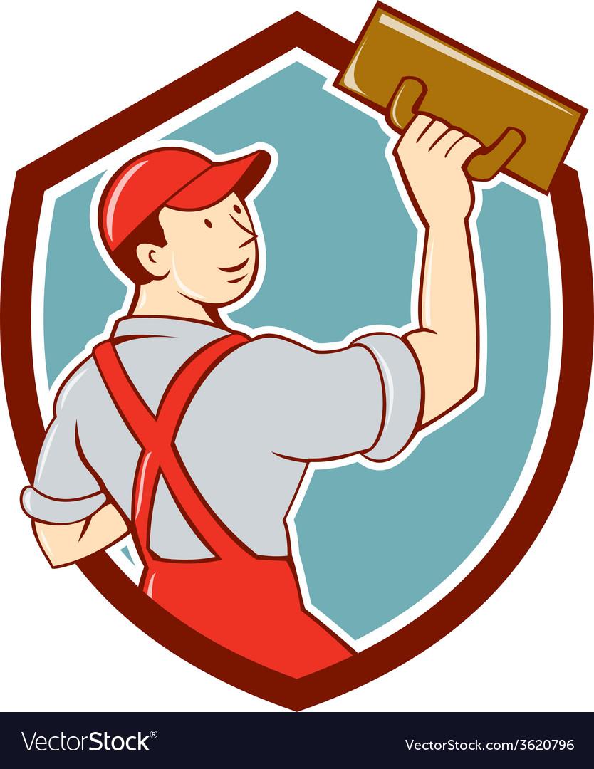 Plasterer masonry trowel shield cartoon vector | Price: 1 Credit (USD $1)