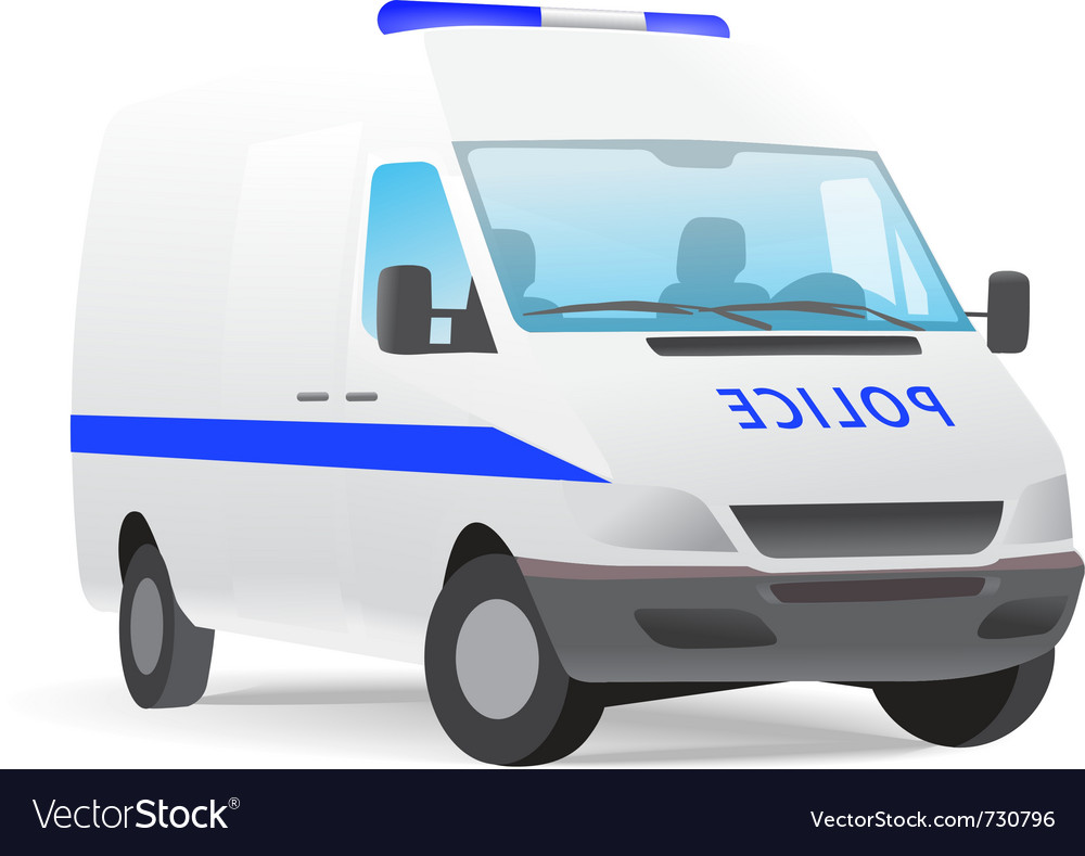 Police van isolated on white vector | Price: 1 Credit (USD $1)