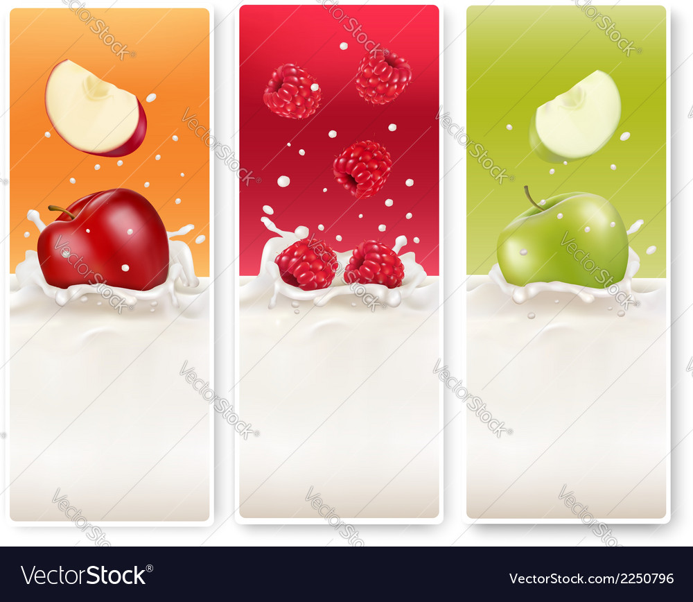 Three fruit and milk labels vector | Price: 1 Credit (USD $1)