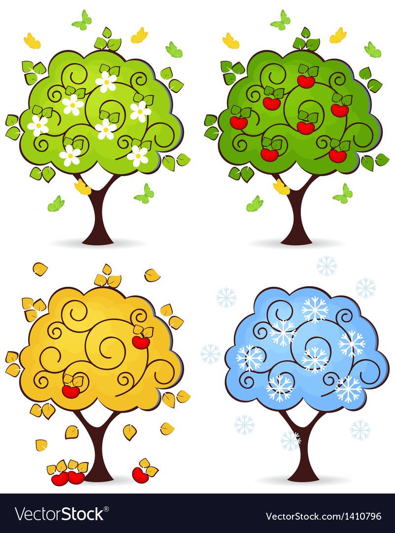 Tree four seasons vector | Price: 1 Credit (USD $1)