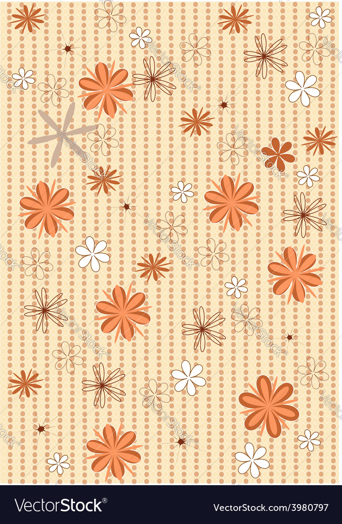 Background brown polka dots and flowers vector | Price: 1 Credit (USD $1)