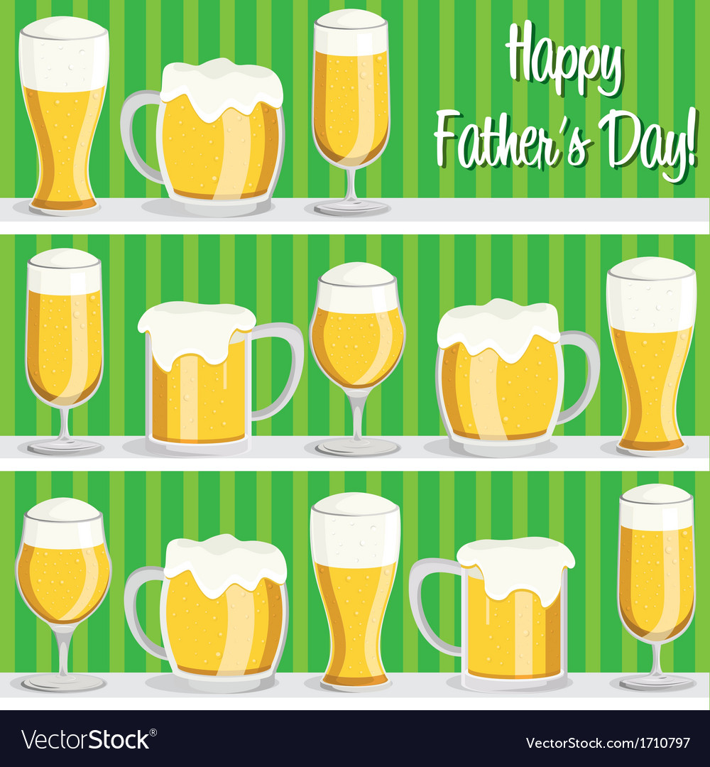 Beer theme fathers day card in format vector | Price: 1 Credit (USD $1)