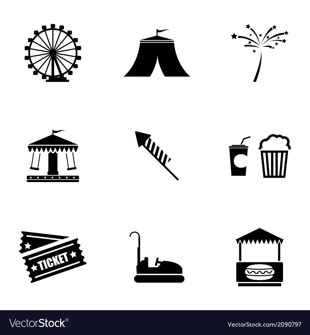 Black carnival icons set vector | Price: 1 Credit (USD $1)