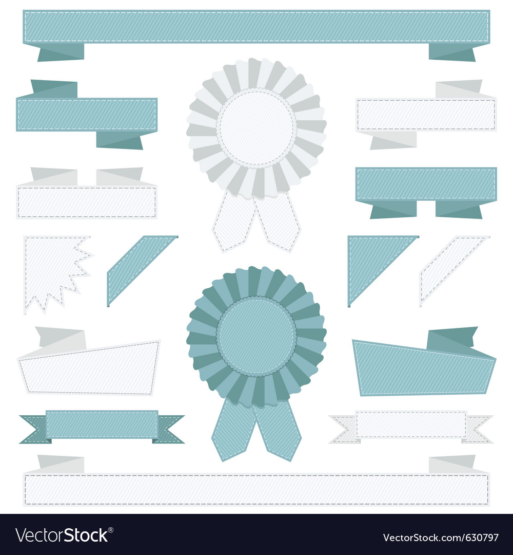 Blue and white ribbons vector | Price: 1 Credit (USD $1)