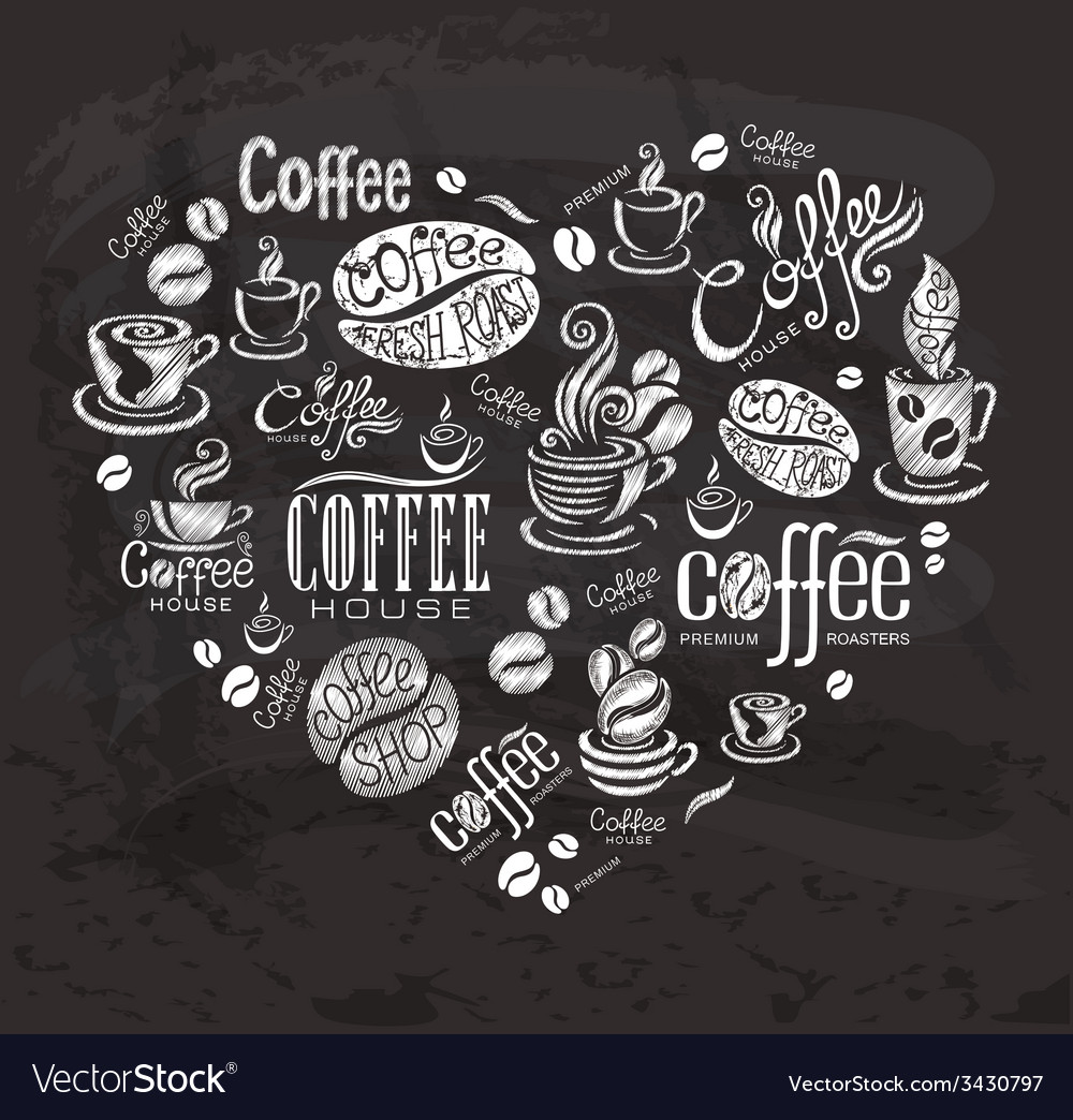 Coffee labels design elements on the chalkboard vector