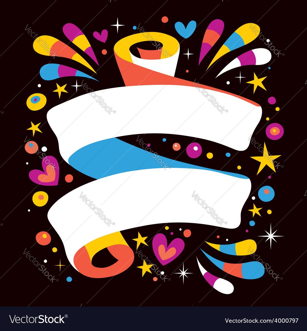 Happy blank ribbon vector | Price: 1 Credit (USD $1)
