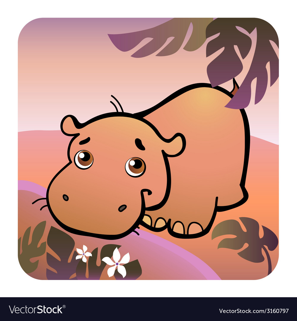 Hippo in savanna vector | Price: 1 Credit (USD $1)