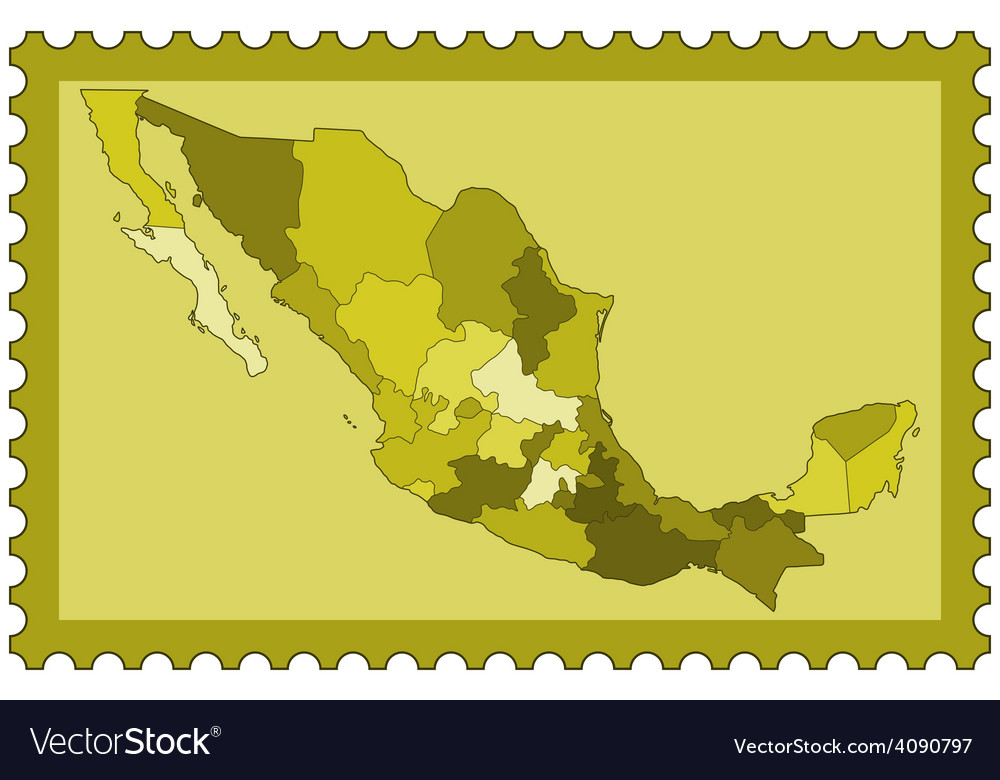 Mexico on stamp vector | Price: 1 Credit (USD $1)